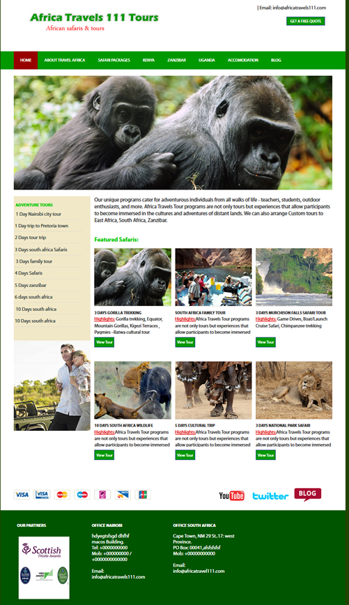free tour and travel website template